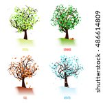 set of abstract trees in four... | Shutterstock .eps vector #486614809