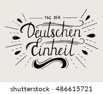 day of german unity lettering.... | Shutterstock .eps vector #486615721