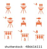 grilled fish icons set. vector... | Shutterstock .eps vector #486616111