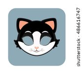 cat mask for halloween and... | Shutterstock .eps vector #486616747