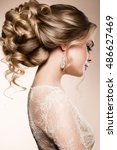 beautiful bride with fashion... | Shutterstock . vector #486627469