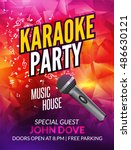 karaoke party invitation poster ... | Shutterstock .eps vector #486630121