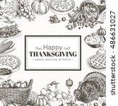 vector hand drawn thanksgiving... | Shutterstock .eps vector #486631027