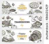 vector hand drawn thanksgiving... | Shutterstock .eps vector #486631429
