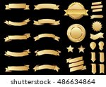 banner gold vector icon set on... | Shutterstock .eps vector #486634864