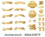banner gold vector icon set on... | Shutterstock .eps vector #486634879