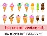 ice cream set. ice cream cone ...   Shutterstock .eps vector #486637879