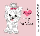 cute yorkshire terrier on a... | Shutterstock . vector #486638281