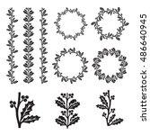 ilex aquifolium decor  also... | Shutterstock .eps vector #486640945