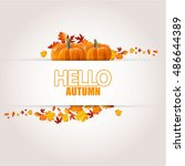 autumn sale concept with autumn ... | Shutterstock .eps vector #486644389