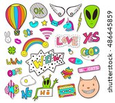 fashion patches elements with... | Shutterstock .eps vector #486645859