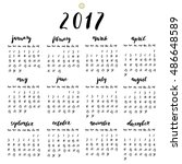 2017 year calendar with ink... | Shutterstock .eps vector #486648589