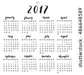 2017 year calendar with ink... | Shutterstock .eps vector #486648589