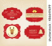 christmas label vintage style... | Shutterstock .eps vector #486649699