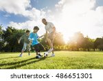 soccer football field father... | Shutterstock . vector #486651301