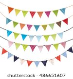 party flags set collection ... | Shutterstock . vector #486651607