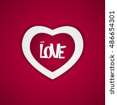 heart on red background ... | Shutterstock . vector #486654301
