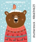 cute bear with a bird.... | Shutterstock .eps vector #486654625