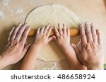 Children And Dad Hands Rolled...