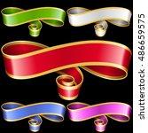 vector ribbon frames set. white ...   Shutterstock .eps vector #486659575