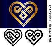 vector small celtic heart... | Shutterstock .eps vector #486659605