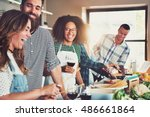 group of diverse friends... | Shutterstock . vector #486661864