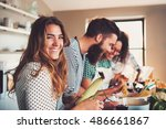 laughing woman talking and... | Shutterstock . vector #486661867