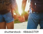 Hiker Young Woman Holding Man'...