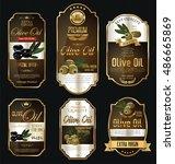 olive oil retro vintage gold... | Shutterstock .eps vector #486665869
