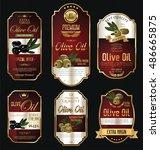 olive oil retro vintage gold... | Shutterstock .eps vector #486665875