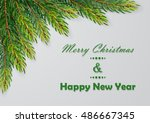 christmas background with fir... | Shutterstock .eps vector #486667345