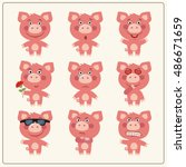 vector set isolated emotion pig.... | Shutterstock .eps vector #486671659