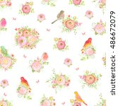 seamless pattern with flowers... | Shutterstock .eps vector #486672079