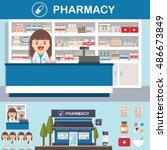 vector pharmacy drugstore set... | Shutterstock .eps vector #486673849