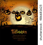 halloween background with scary ... | Shutterstock .eps vector #486681625