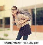 student girl  with heavy... | Shutterstock . vector #486682189