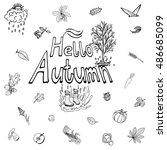 hello autimn hand drawn set.... | Shutterstock .eps vector #486685099