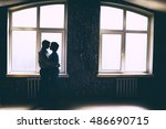 silhouette of dancing couple at ... | Shutterstock . vector #486690715