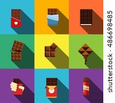 chocolate vector flat icons....
