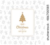 merry christmas card pattern... | Shutterstock .eps vector #486700585
