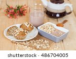 banana cup cake with oat flakes | Shutterstock . vector #486704005