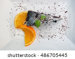 chocolate brownie on a white...   Shutterstock . vector #486705445