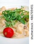 italian gnocchi with gorgonzola ...   Shutterstock . vector #486705451