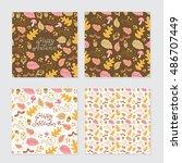 vector set of autumn greeting... | Shutterstock .eps vector #486707449