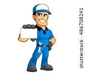 sympathetic car mechanic  he... | Shutterstock .eps vector #486708241
