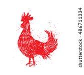 rooster red label. vintage... | Shutterstock .eps vector #486711334