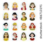 set of avatar illustrations... | Shutterstock .eps vector #486713191