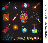 july 4 arsenal of fireworks and ... | Shutterstock .eps vector #486716614