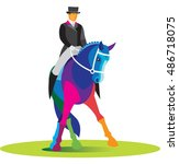 Male Rider Competes In Dressage