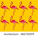 flamingo  vector pattern | Shutterstock .eps vector #486720595